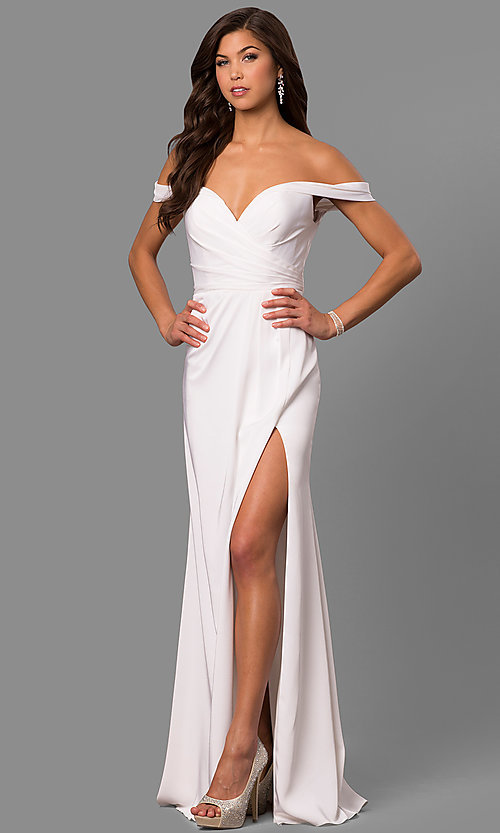 Image of long formal off-the-shoulder v-neck dress with slit. Style: FA-8083 Detail Image 3