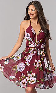 Faviana Floral-Print Short Chiffon Homecoming Dress
