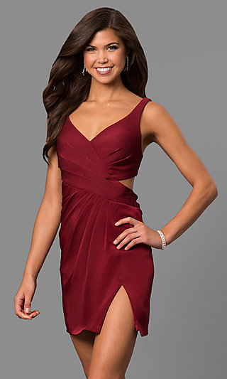 Short V-Neck Homecoming Dress with Cut-Out Back