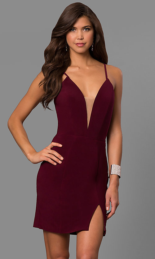 Image of deep-v-neck homecoming dress with lace-up back. Style: FA-8054 Front Image