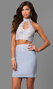 Image of short two-piece Faviana homecoming party dress. Style: FA-8071 Detail Image 1