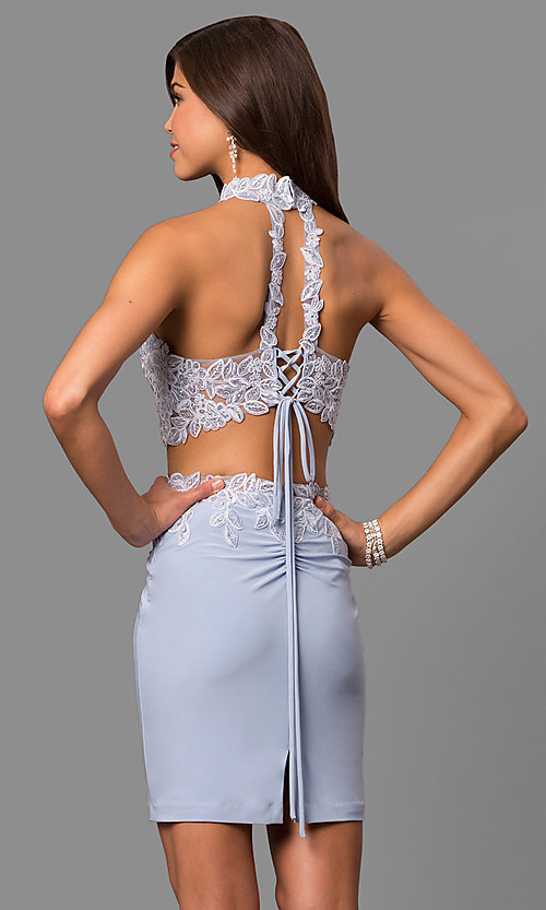 Image of short two-piece Faviana homecoming party dress. Style: FA-8071 Back Image