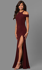 Image of long formal cold-shoulder dress with side slit. Style: FA-8086 Detail Image 1