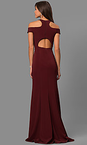Image of long formal cold-shoulder dress with side slit. Style: FA-8086 Back Image