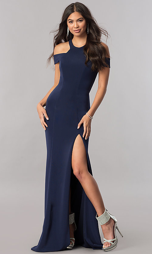 Image of long formal cold-shoulder dress with side slit. Style: FA-8086 Front Image