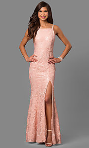 Image of pink sequined print long prom dress with slit. Style: MT-8431-1 Front Image