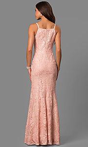 Image of pink sequined print long prom dress with slit. Style: MT-8431-1 Back Image