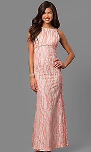 Image of pink empire-waist long formal dress with sequins. Style: MT-8453 Front Image