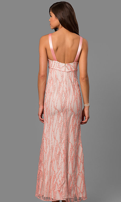 Image of pink empire-waist long formal dress with sequins. Style: MT-8453 Back Image