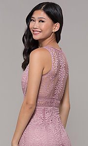 Image of long v-neck lace prom dress with train. Style: MT-8325-1 Detail Image 2