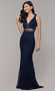 Image of long v-neck lace prom dress with train. Style: MT-8325-1 Detail Image 3