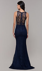 Image of long v-neck lace prom dress with train. Style: MT-8325-1 Detail Image 4