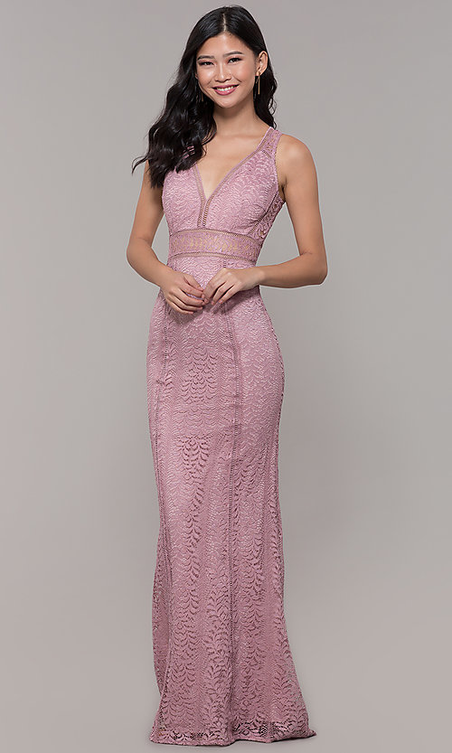 Image of long v-neck lace prom dress with train. Style: MT-8325-1 Front Image