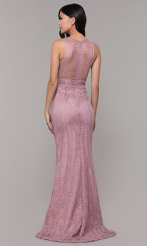 Image of long v-neck lace prom dress with train. Style: MT-8325-1 Back Image
