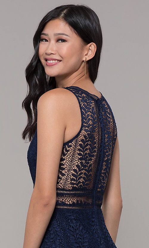 Image of long v-neck lace prom dress with train. Style: MT-8325-1 Detail Image 6