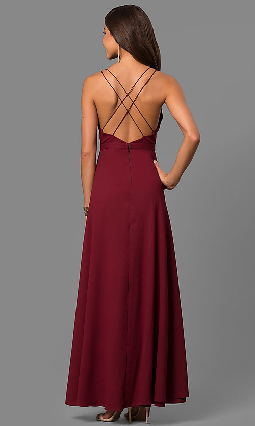 Image of mock-wrap long prom dress with ruffled v-neck. Style: MT-8606 Back Image