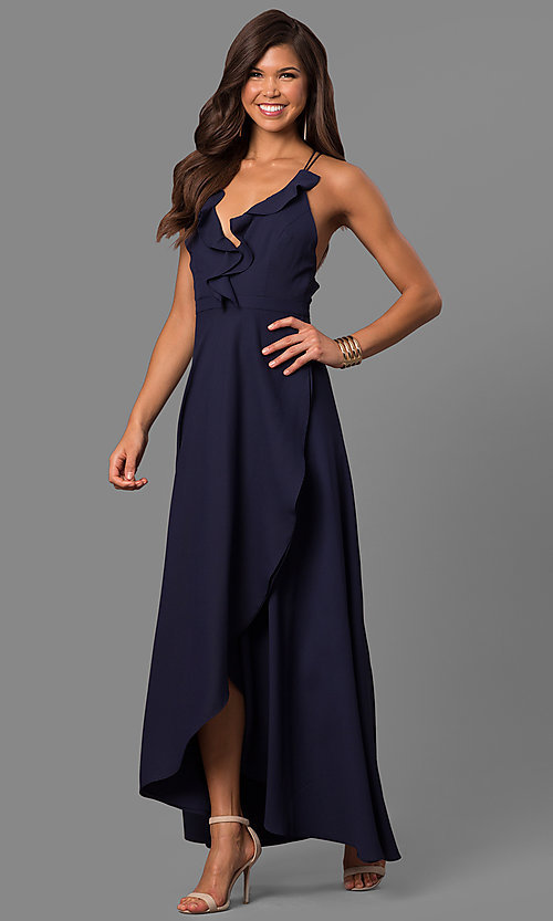 Image of mock-wrap long prom dress with ruffled v-neck. Style: MT-8606 Detail Image 2