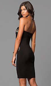 Image of short black party dress with embroidered applique. Style: MD-D15261CEK Back Image