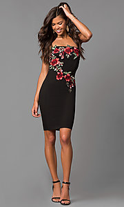 Image of short black party dress with embroidered applique. Style: MD-D15261CEK Detail Image 1