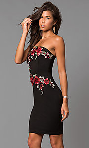 Image of short black party dress with embroidered applique. Style: MD-D15261CEK Detail Image 2