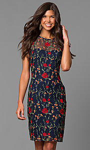 Short Navy Party Dress with Floral Embroidery
