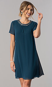Image of teal short sleeve wedding-guest shift party dress. Style: IT-117605 Front Image