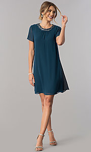 Image of teal short sleeve wedding-guest shift party dress. Style: IT-117605 Detail Image 1