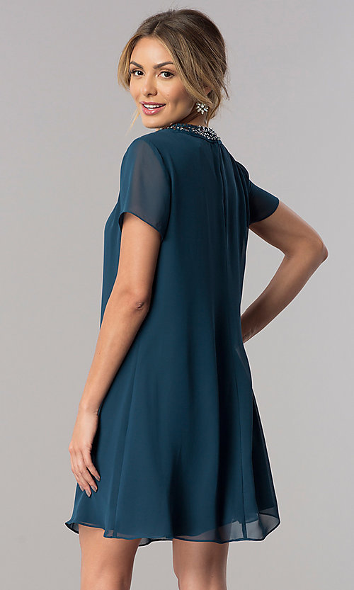 Image of teal short sleeve wedding-guest shift party dress. Style: IT-117605 Back Image