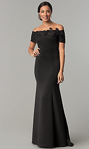 Image of off-the-shoulder mother-of-the-bride dress with lace. Style: IT-3601 Front Image