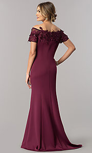 Image of off-the-shoulder mother-of-the-bride dress with lace. Style: IT-3601 Back Image