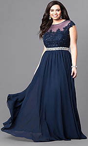 Image of cap-sleeve plus-size illusion prom dress in navy blue. Style: DQ-9400Pn Front Image