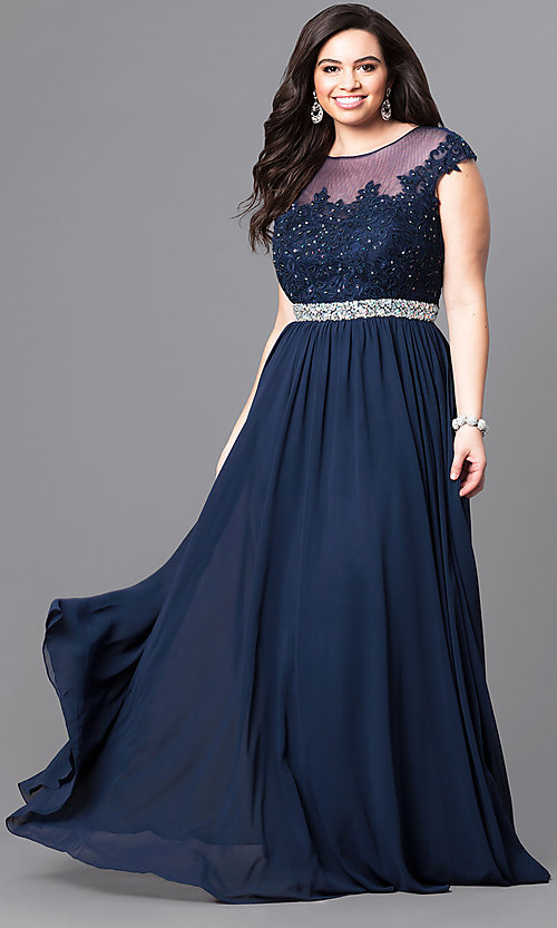 6e6a22377849 Image of cap-sleeve plus-size illusion prom dress in navy blue. Style
