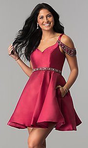 Image of sangria red short semi-formal dress with pockets. Style: BL-PG063 Front Image