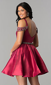 Image of sangria red short semi-formal dress with pockets. Style: BL-PG063 Back Image