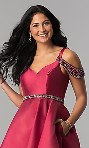 Image of sangria red short semi-formal dress with pockets. Style: BL-PG063 Detail Image 1