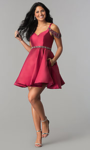 Image of sangria red short semi-formal dress with pockets. Style: BL-PG063 Detail Image 2