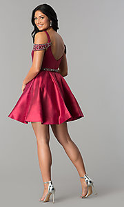 Image of sangria red short semi-formal dress with pockets. Style: BL-PG063 Detail Image 3