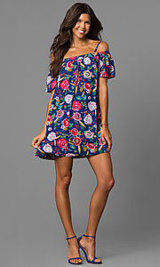 Image of short navy/red print shift casual dress with straps. Style: AS-i495645B08 Detail Image 1