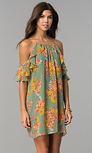 Image of short cold-shoulder casual dress with floral print. Style: AS-i459495C05 Front Image