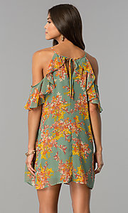 Image of short cold-shoulder casual dress with floral print. Style: AS-i459495C05 Back Image