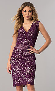 Image of short lace wedding-guest dress in dark berry purple. Style: SG-SBAC1204 Front Image