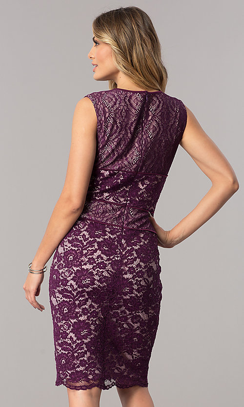 Image of short lace wedding-guest dress in dark berry purple. Style: SG-SBAC1204 Back Image