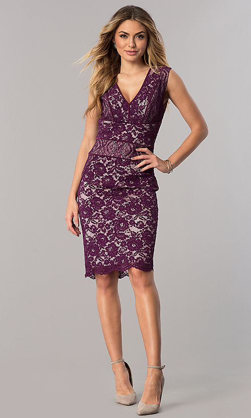 Image of short lace wedding-guest dress in dark berry purple. Style: SG-SBAC1204 Detail Image 1
