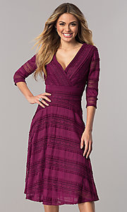 Plum Purple Short Three-Quarter Sleeve Dress with Lace