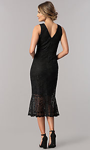 Image of midi black lace v-neck wedding-guest sheath dress. Style: JX-1ZVA241Q Back Image