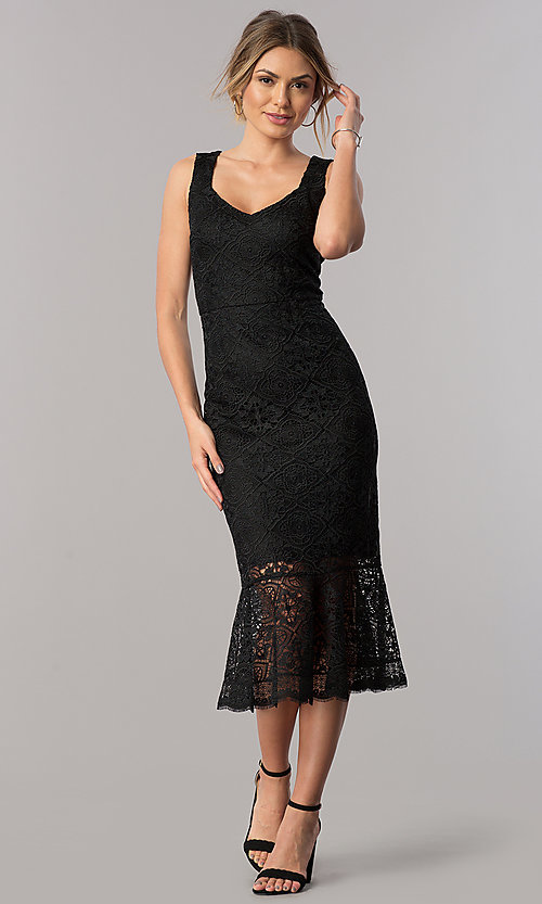 Image of midi black lace v-neck wedding-guest sheath dress. Style: JX-1ZVA241Q Front Image