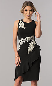 Floral Embroidered Short Sheath Wedding Guest Dress