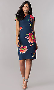 Image of navy blue short sheath career dress with floral-print. Style: JX-1ZUT162J Detail Image 1
