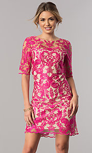 Sleeved Embroidered-Mesh Short Pink Party Dress