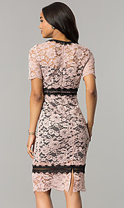 Image of blossom pink lace wedding-guest dress with black trim. Style: JX-1ZWD268Q Back Image